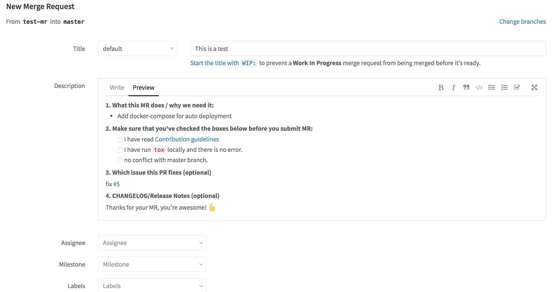 merge request gitlab development standards 0 1 documentation